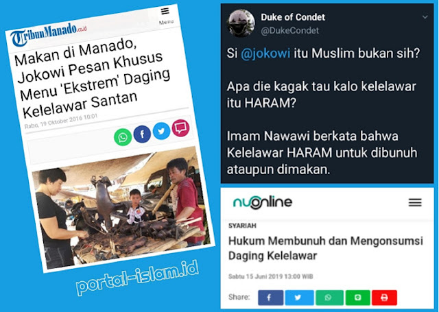 Netizen: Jokowi Muslim Bukan Sih? Kelelawar itu HARAM