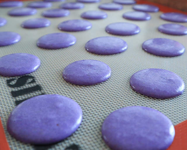 purple murple macarons after beng piped
