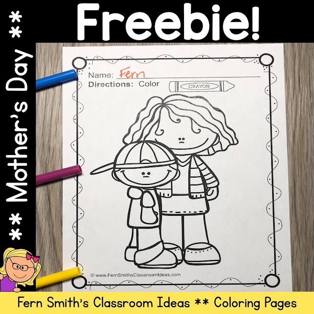 Fern's Freebie Friday ~ Mother's Day Coloring Pages Freebie