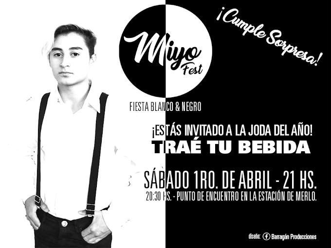 """Flyer para la Fiesta Blanco y Negro de la """"Miyo Fest"""""""