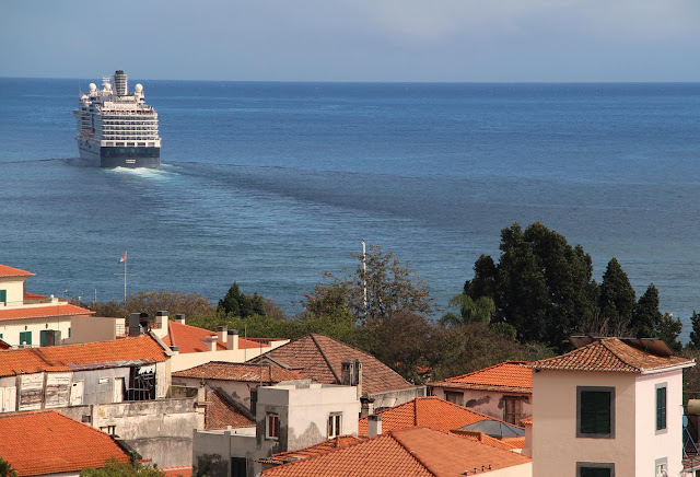 a cruise ship leaves Funchal