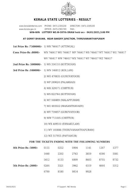 Kerala Lottery Result Win Win W-597 dated 04.01.2021 Part-1