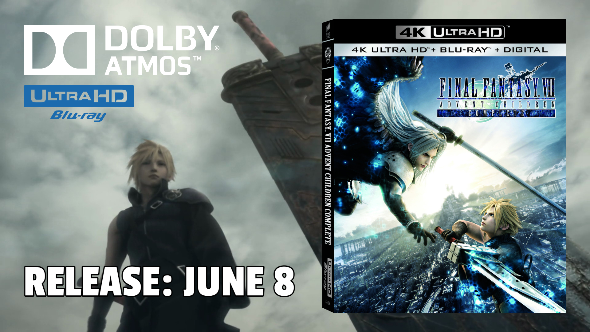 Final Fantasy VII: Advent Children Complete Remastered on 4K - Available June 8 (Sony Pictures)