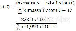 Menentukan massa relatif (Ar) unsur Q, perbandingan massa rata-rata 1 unsur Q terhadap massa 1 unsur C-12