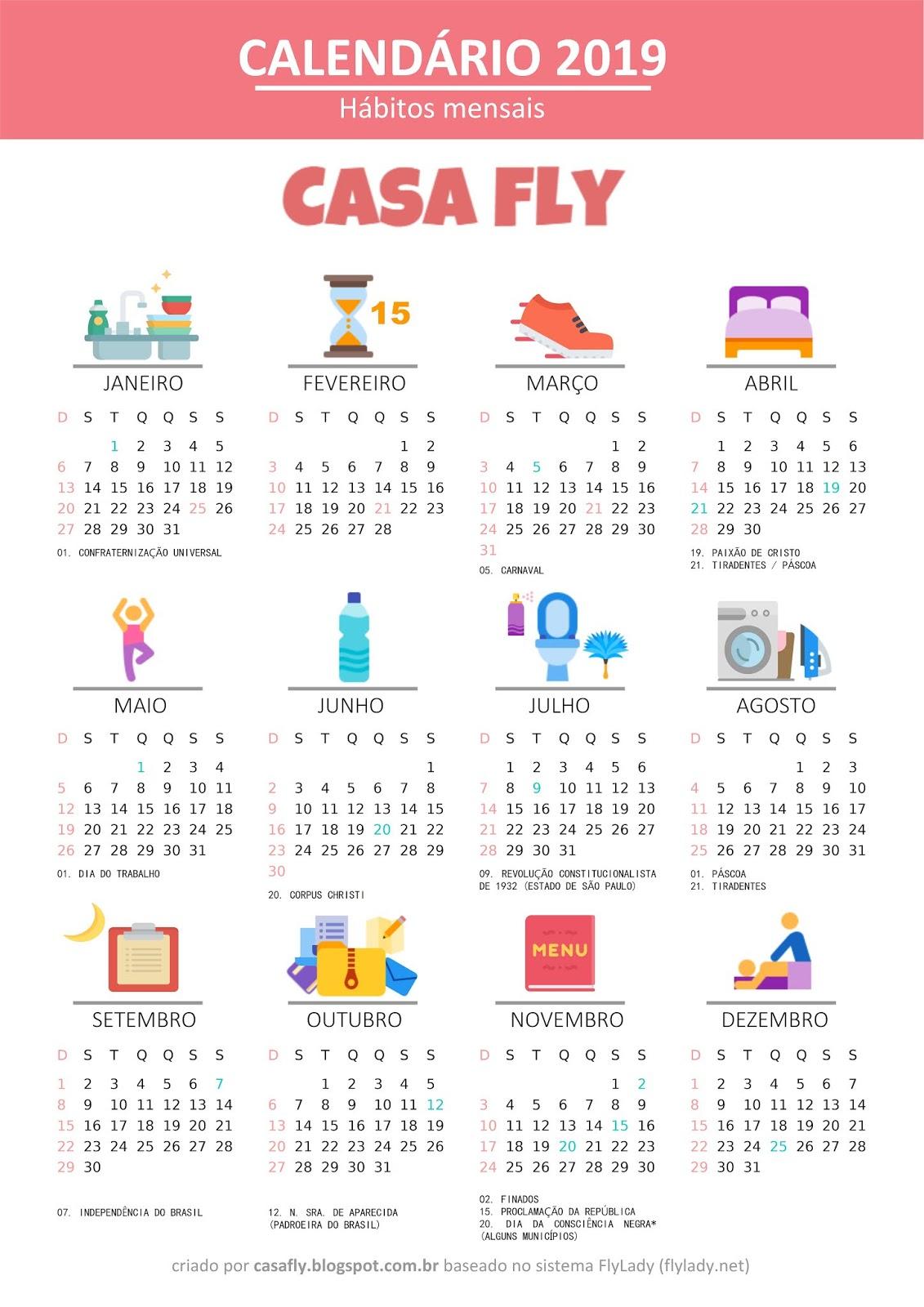 Calendario Flylady.Calendario Casa Fly 2019 Casa Fly