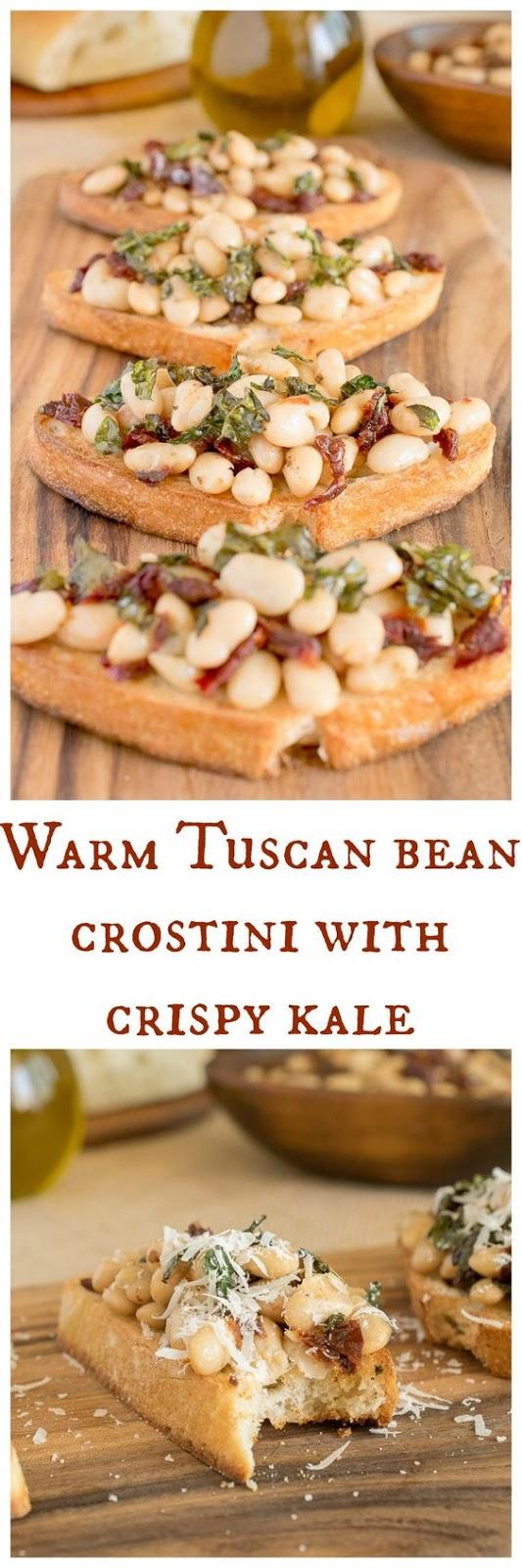 Warm Tuscan Bean Crostini with Crispy Kale