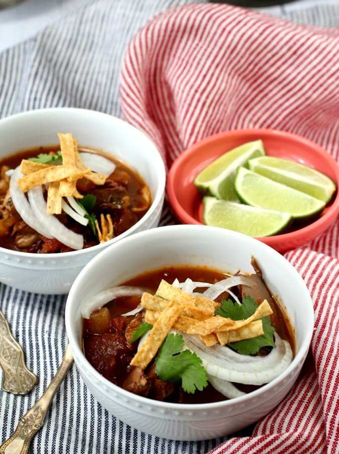 Pozole Rojo with Chicken and garnishes