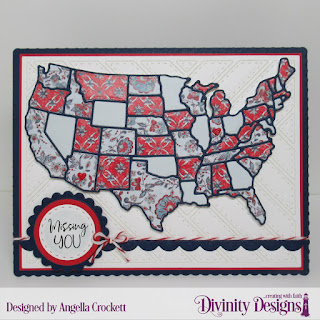 Divinity Designs Stamp Set: Adventure Awaits, Custom Dies: USA Map, Quilted Background, Bitty Borders, Scalloped Rectangles, Scalloped Circles, Double Stitched Circles, Paper Collection: Americana Quilt