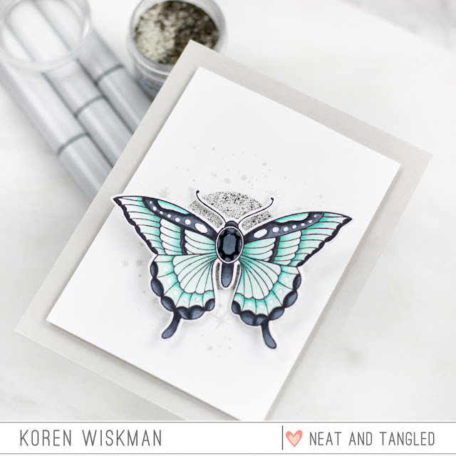 eat and Tangled, Butterfly Beauties, Stamp set, moon and stars, stamping, die-cutting, blue, mint, green, gem, greeting card, Ranger, Simon Says Stamp, Copic Markers, heat embossing, koren wiskman,
