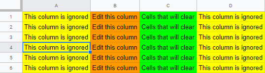 Screenshot of coloured columns to highlight actions