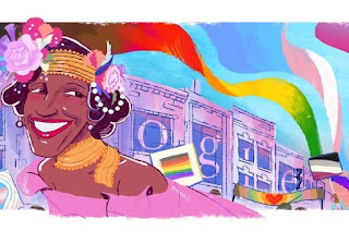 Gay rights activist Marsha P Johnson is being honoured with a Google Doodle