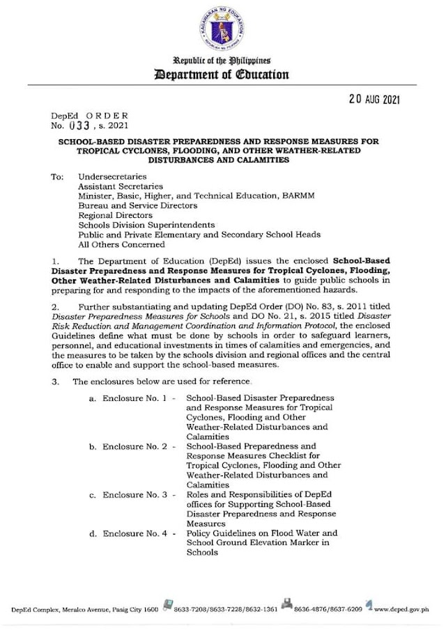 School-Based Disaster Preparedness and Response Measures for Tropical Cyclones, Flooding, and other Weather-Related Disturbances and Calamities | DepEd Order No. 33, s. 2021