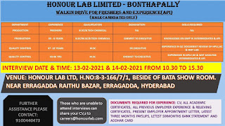 Walk in Drive For Freshers And Experience B.Sc/ M.Sc/ B.Tech Candidates in Honour Lab Limited