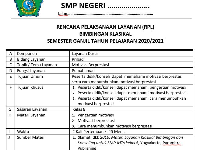 RPL BK Kelas 8 SMP/MTs Semester 1 K13 Revisi 2020