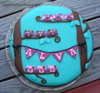 Tårta med ugglor