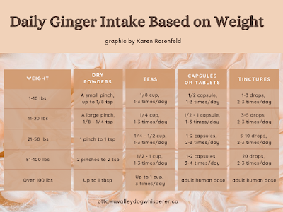 Ginger dosing chart for dogs and cats