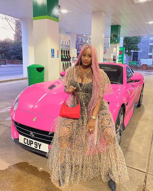 Billionaire Daughter! DJ Cuppy Poses With Her ₦80m Ferrari Portofino