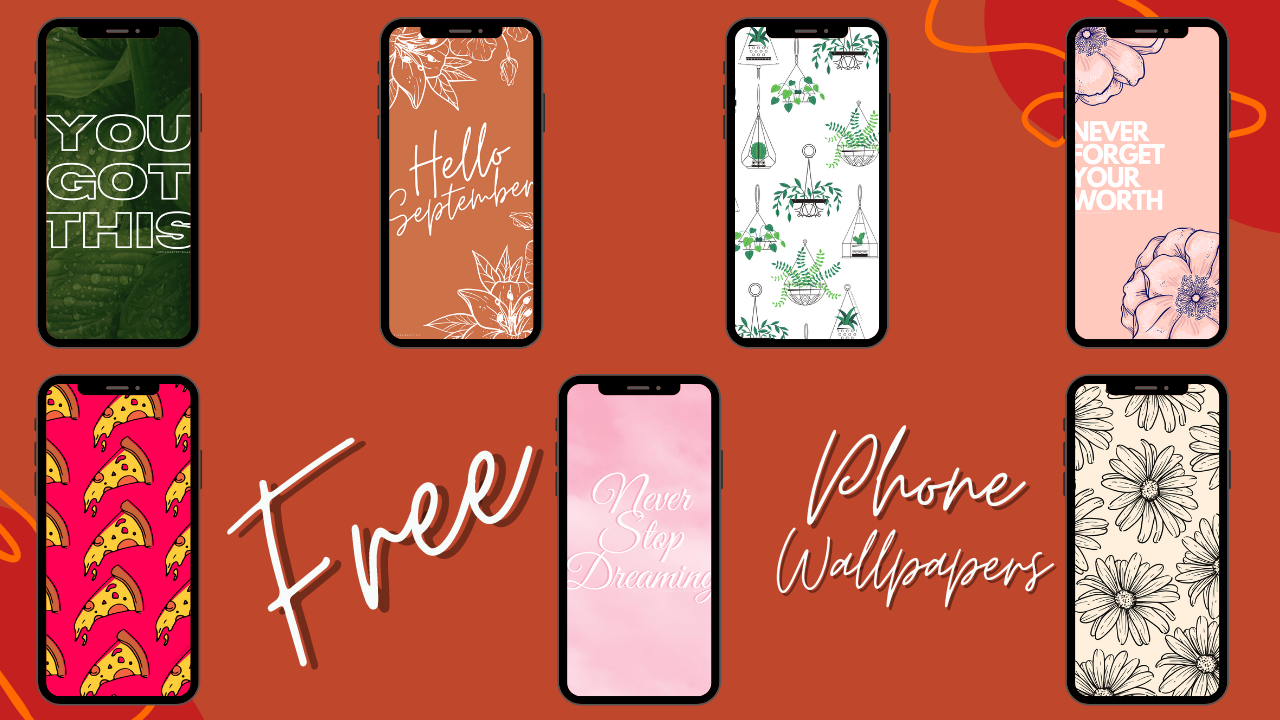 Graphic displaying the 7 FREE phone backgrounds available to download