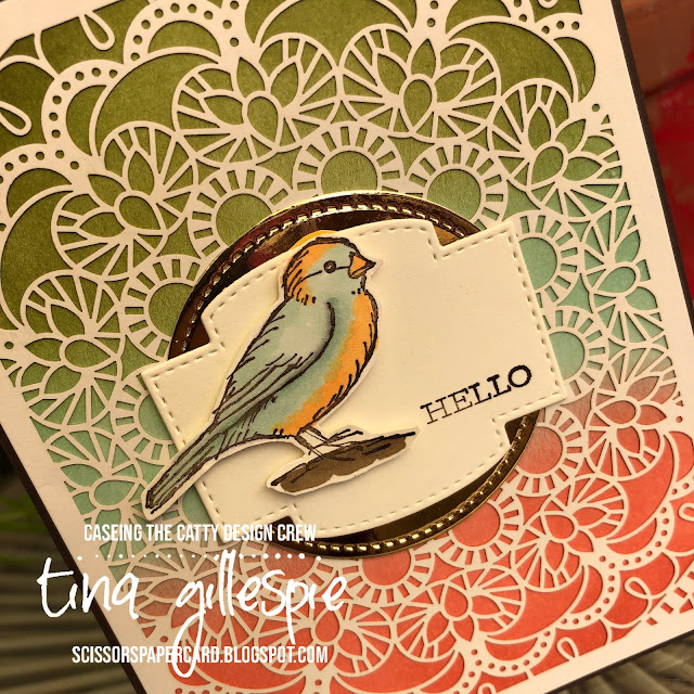 scissorspapercard, Stampin' Up!, CASEing The Catty, Free As A Bird, Bird Ballad Laser Cut Cards, Stitched So Sweetly Dies, Stampin' Blends