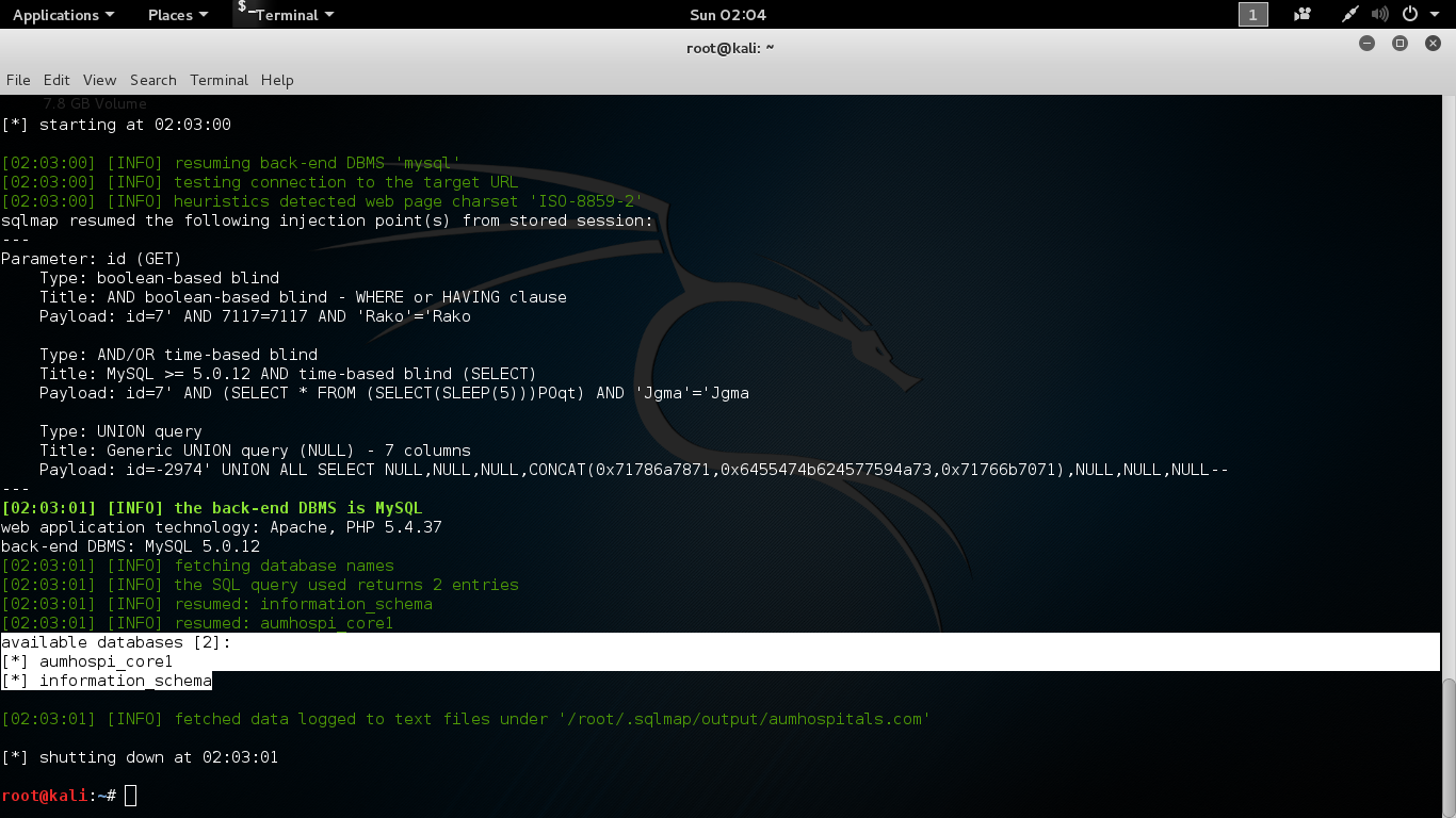 hacking by kali linux: how to hack a website using sqlmap in