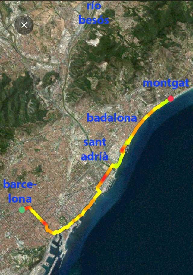 Recorrido Barcelona Montgat (38 km ida y vuelta) en bici eléctrica