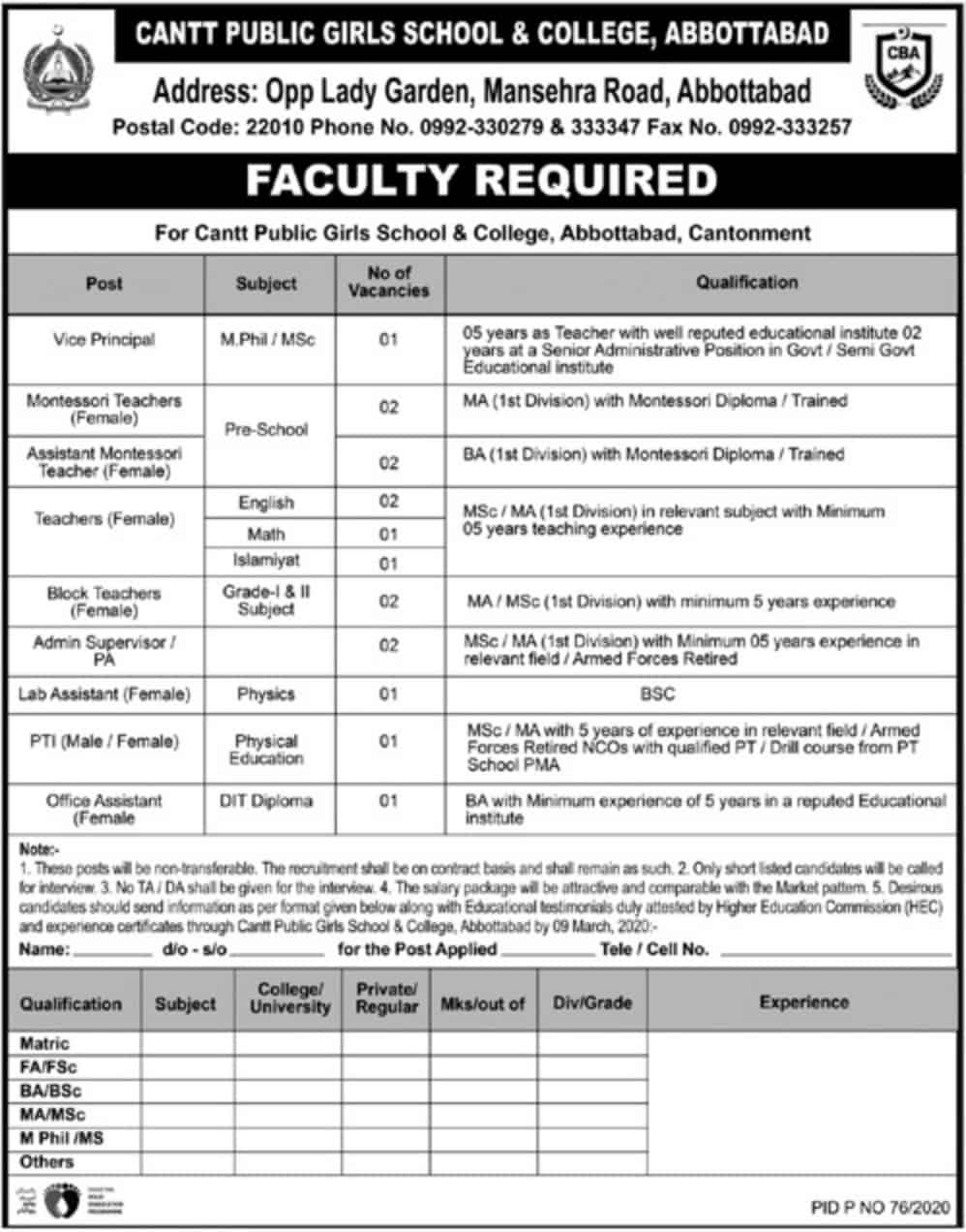 Jobs in Cantt Public Girls School and College Latest 2020