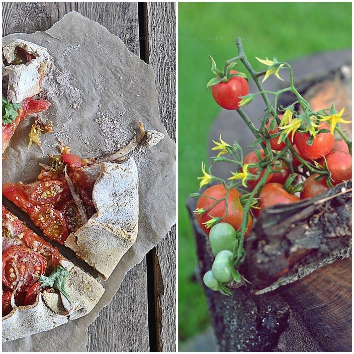 Bezglutenowe galette z hummusem i pomidorkami koktajlowymi
