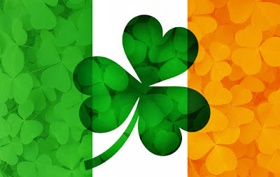 Pic of Irish flag with with large shamrock leaf on top