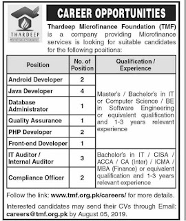 Advertisement for Thardeep Microfinance Foundation Jobs
