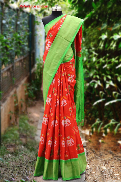 https://devihandlooms.com/shop/product/red-color-pochampally-ikkath-silk-saree-with-parrot-green-border/