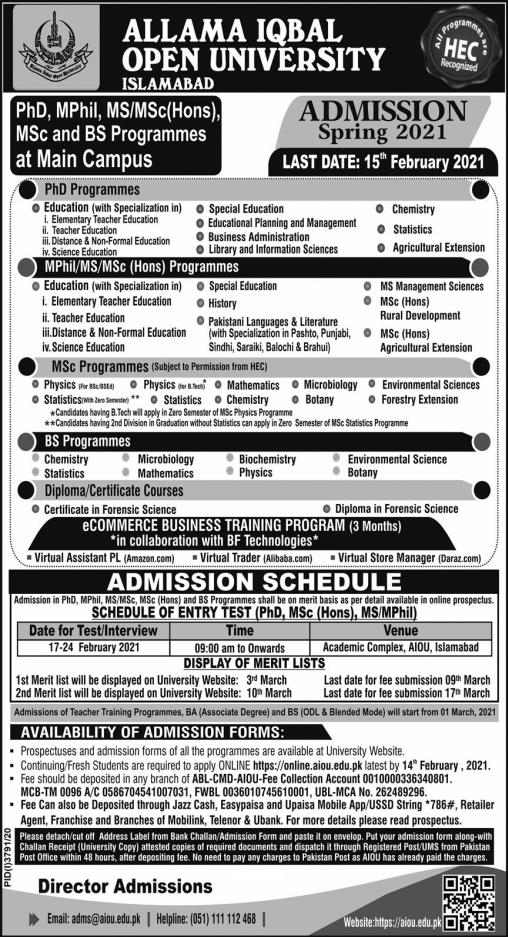 AIOU Admission 20201 AIOU  Online Admission Apply Online