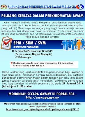Jawatan Kosong Perpustakaan Negara Malaysia 2019