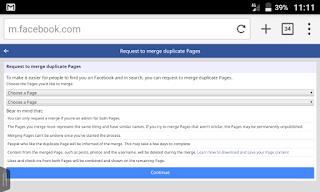 Facebook Duplicate Page Merge