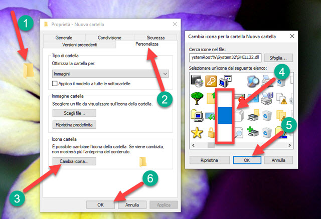 rendere la cartella trasparente nel desktop