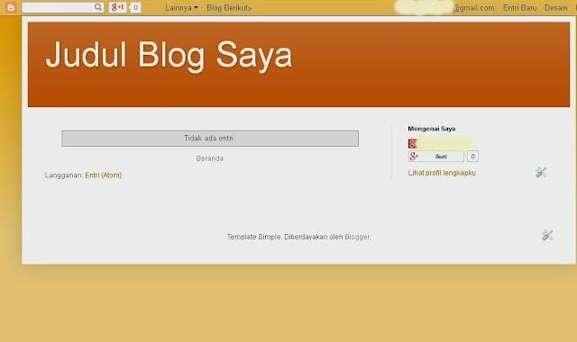 Tampilan Judul, Alamat dan Template Blogger yang sudah jadi