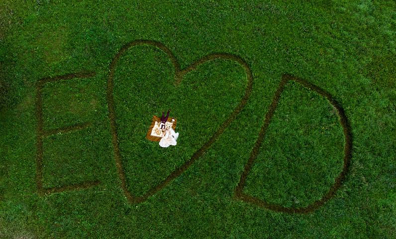 vestuvių nuotraukos iš drono
