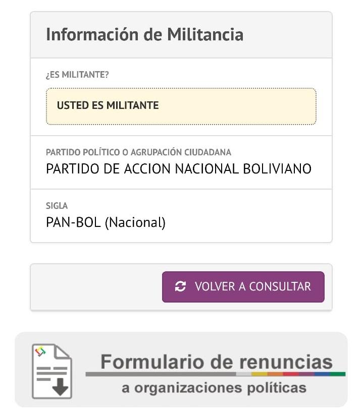 Un ciudadano que no votó en la anterior elección apareció como militante de PAN-BOL / RRSS