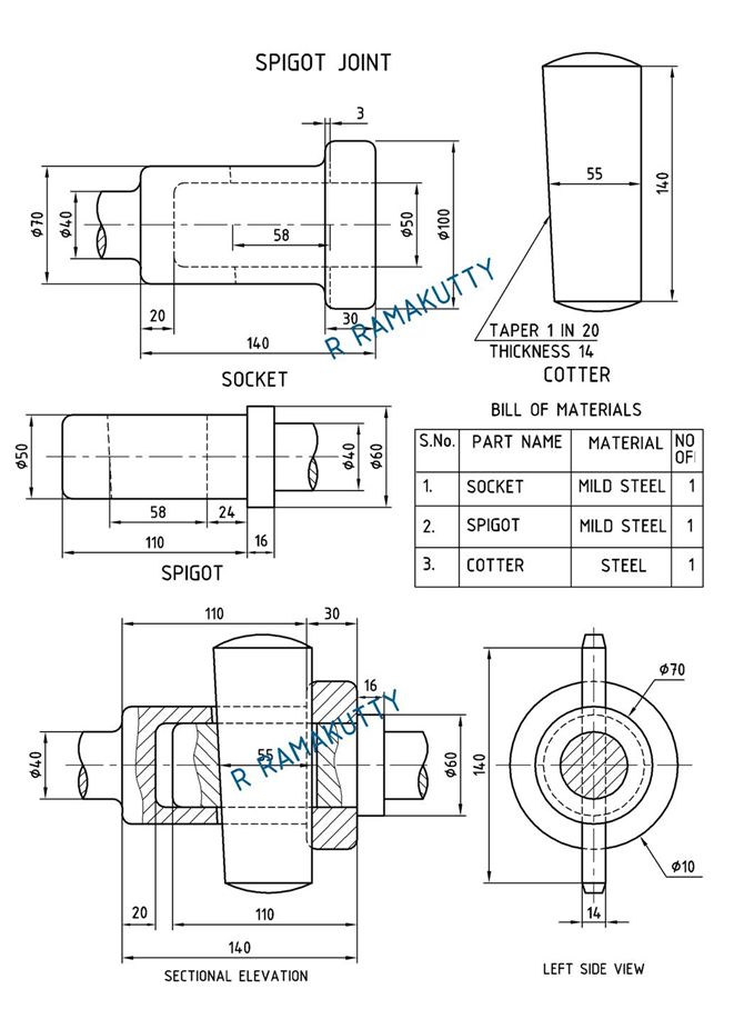 Machine Drawing Sleeve and cotter joint  Socket and spigot joint and Knuckle joint