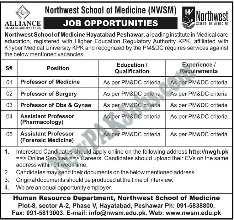 Northwest School of Medicine, NWSM Jobs Latest 2018