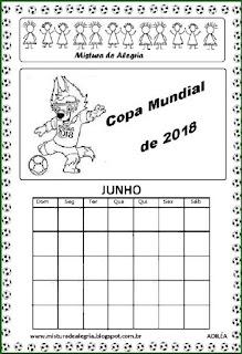 Calendário sobre copa mundial 2018