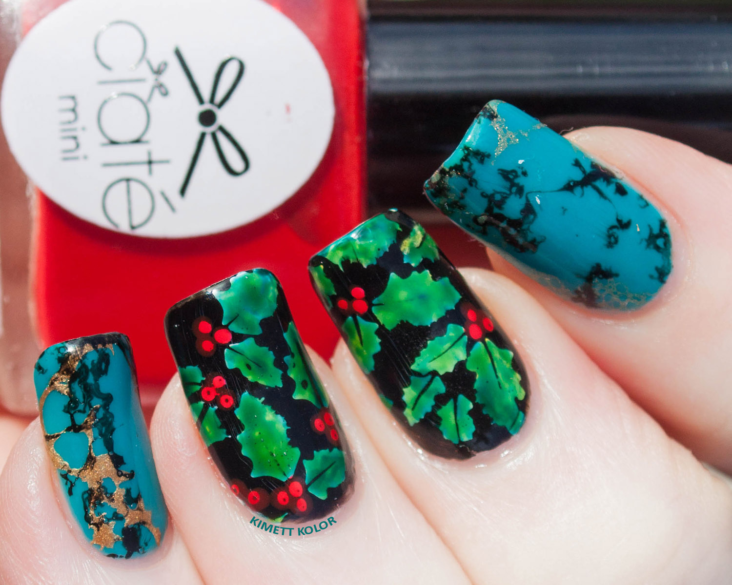 KimettKolor December Month Turquoise Holly Nail Art