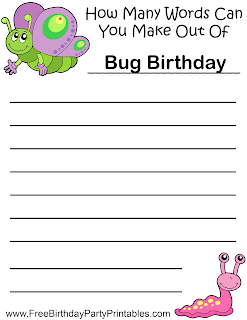 Free Bug Birthday Party Printables- How Many Words Game