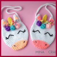 Bolsa unicornio a crochet