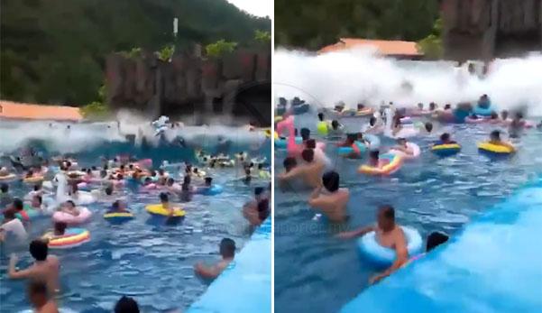 (Video) 44 cedera dilanda ombak tsunami di taman teman air selepas mesin tiba-tiba rosak