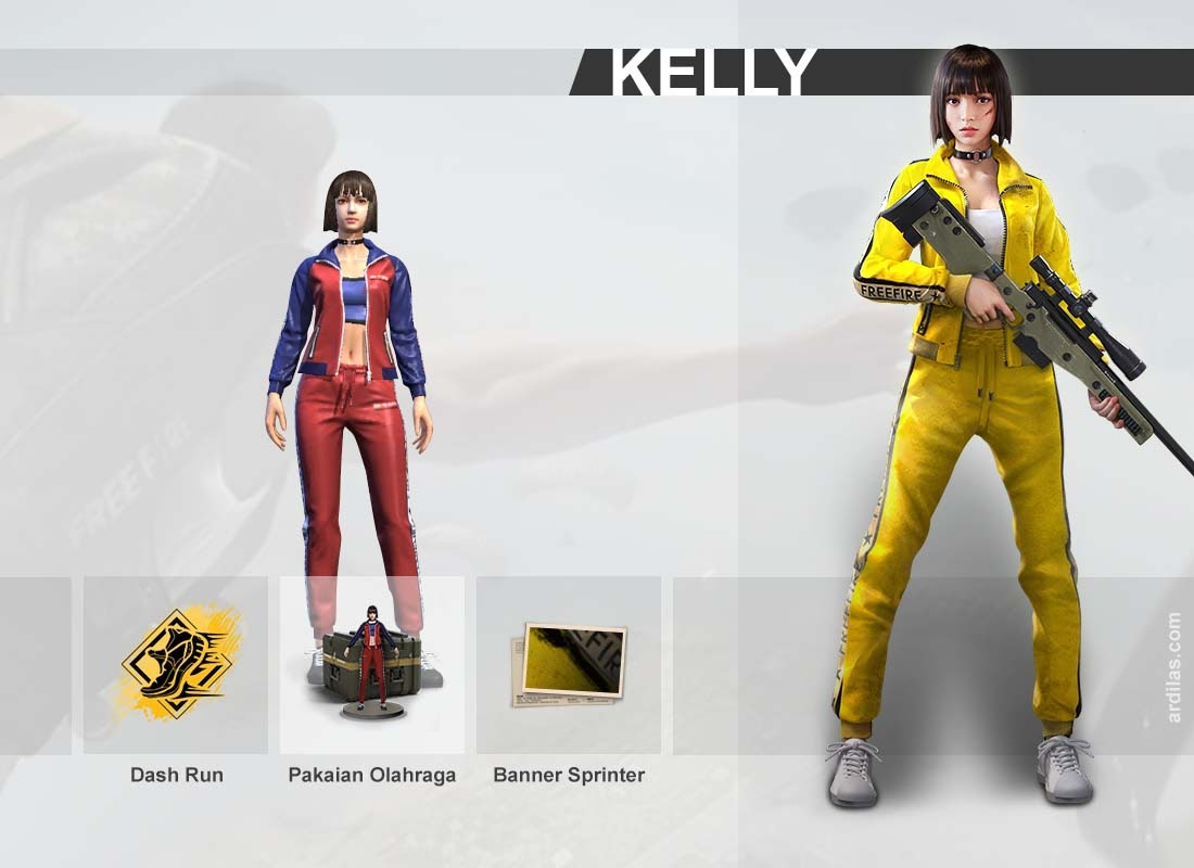 Keahlian Dash run, pakaian olahraga training, banner sprinter dash - Kelly - Karakter di Game Free Fire