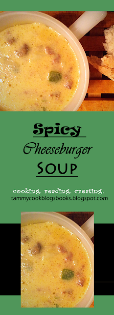 Spicy Cheeseburger Soup  source:tammycookblogsbooks