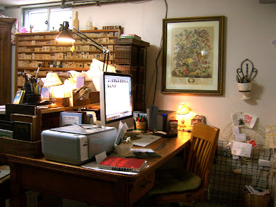Drawing room iMac desk is an antique courtroom table found at an auction in Abilene, Kansas.
