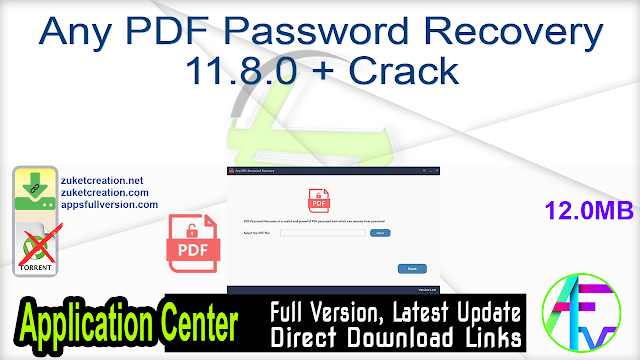 Any PDF Password Recovery 11.8.0 + Crack
