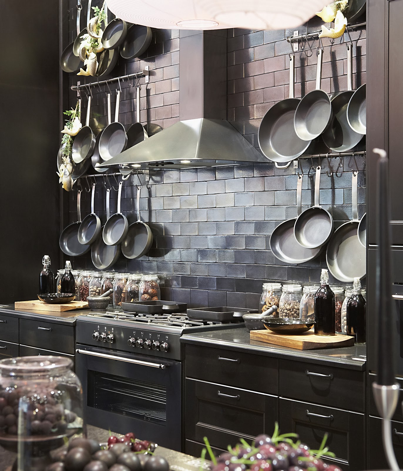 kitchen design hanging pots and pans holdem ikea s glamorous black country kitchen 701