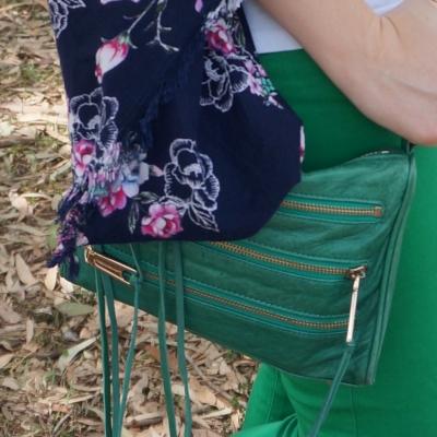 Rebecca Minkoff emerald green mini 5-zip rocker bag with floral kimono   awayfromtheblue